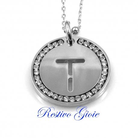 Collana e ciondolo con iniziale lettera T e zirconi in ottone argentato