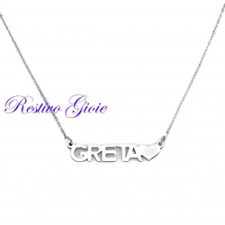 Collana girocollo donna rolò in acciaio lucido con nome Greta e cuore