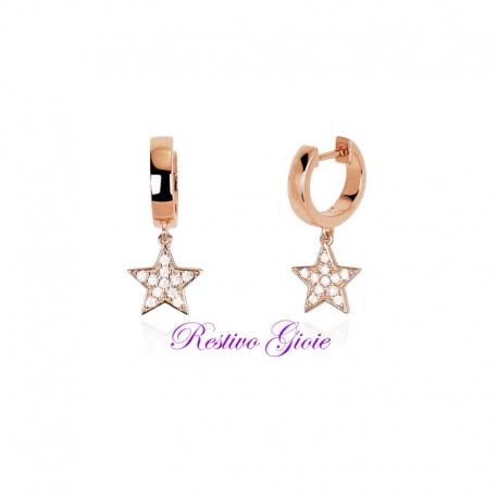 Orecchini Mabina a boccola in argento rosato con stella pendente 563253