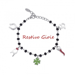 BRACCIALE DONNA 2JEWELS DESIREE' REF 232050 CON CIONDOLI PORTAFORTUNA SMALTATI