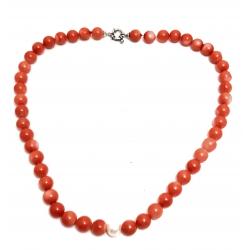Collana in corallo rosa e perla con chiusura in argento