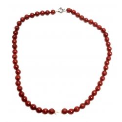 Collana in corallo rosso e perla bianca con chiusura in argento