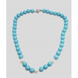Collana in turchese e perle bianche con chiusura in argento