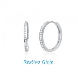 Orecchini cerchio boccola donna Mabina in argento ref.563221