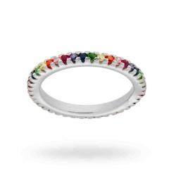 Anello Veretta Riviera Rainbow in argento 925 e zirconi colorati 17509