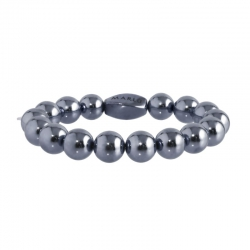 Bracciale Marlù palline ematite antracite mm 10 ref.18BR070E-10