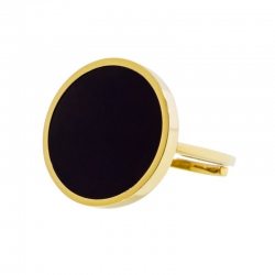 Anello aperto Marlù dorato con acrilico nero ref. 2AN0031G-S