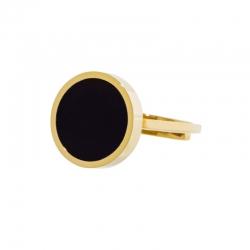 Anello aperto Marlù dorato con acrilico nero ref. 2AN0033G-S
