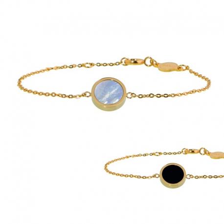 Bracciale Marlù in acciaio dorato con madreperla e acrilico ref. 2BR0045G