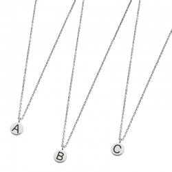 Collana in acciaio Marlù con lettera iniziale smaltata ref. 18CN028