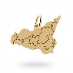 Ciondolo Sicilia in argento dorato con province incise ref. 17368