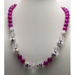Collana donna con pietre dure di agata viola perle decorate e cristallo di rocca