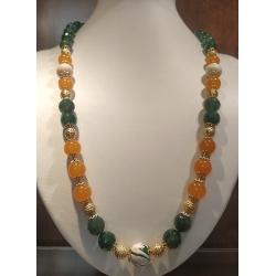 Collana donna con pietre dure di agata verde e arancio con inserti dorati