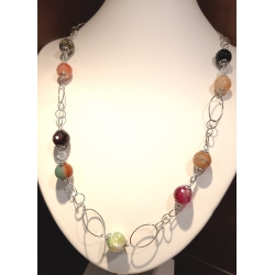 Collana donna con pietre dure di agata colorata e catena in argento rodiato