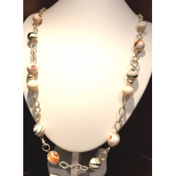 Collana lunga con pietre dure di agata striata e catena in argento dorato