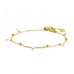 Bracciale donna Marlù in acciaio gold con sfere e perle pendenti 2BR0071GW